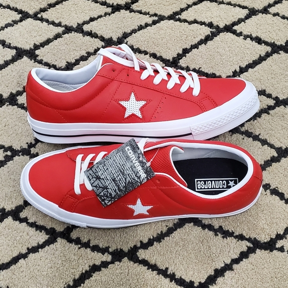 Converse One Star Leather White Casino Red Low Top NWT
